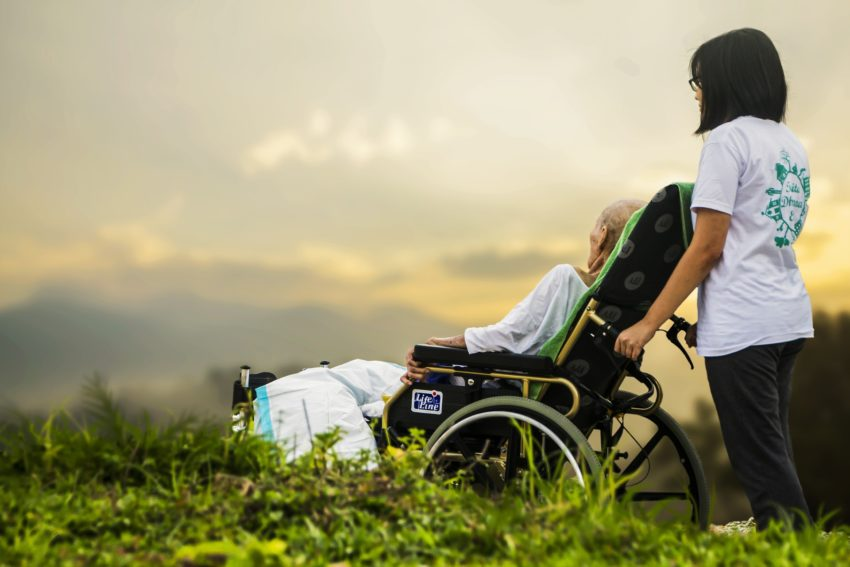 CBD Oil Against Cancer Image of Old Sick Man in Wheelchair
